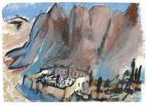 Katharinenkloster am Sinai mit dem Berg Moses