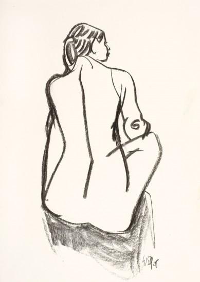 Rückenakt, sitzend